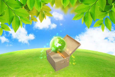 Green globe in box.green energy concept  photo