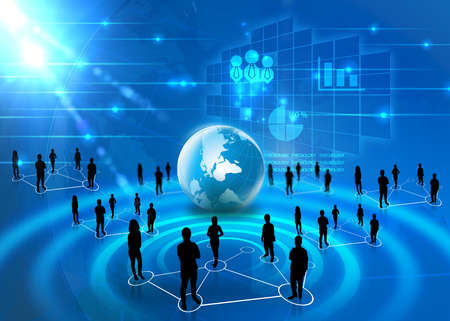 Business team with business world Stock Photo - 16442729
