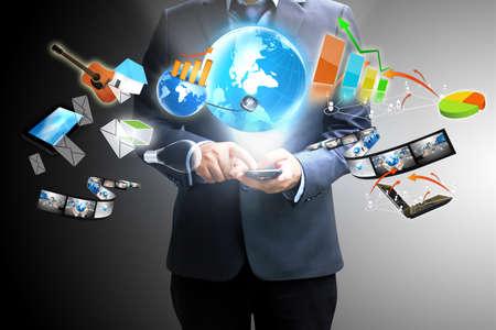 Businessman holding social media Stock Photo - 16821832