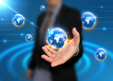 businessman holding world, connected  photo