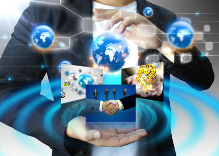 businessman holding business world, connected Stock Photo - 18382748