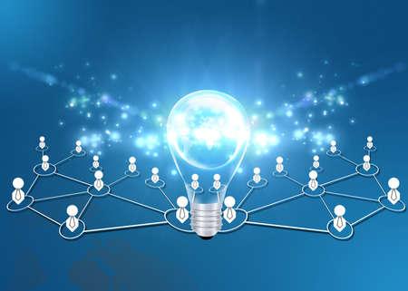 manos unidas: Trabajo en equipo con las bombillas idea