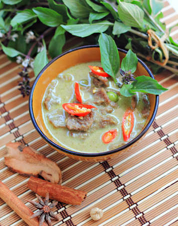 beef curry: Beef green curry,Thai cuisine Stock Photo