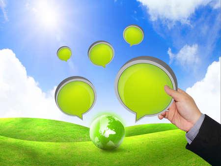 verbal communication: Hand holding speech bubble