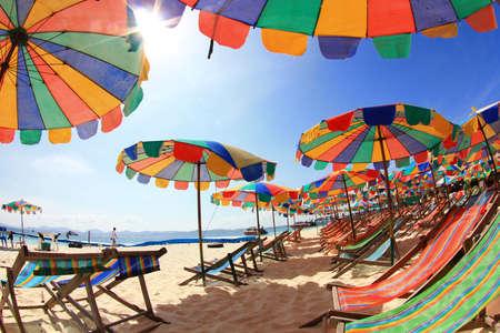 Beach chairs with umbrella and beautiful beach.Khai Island Phuket  Stock Photo
