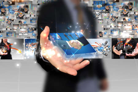 businessman holding Successful business Stock Photo - 20502364