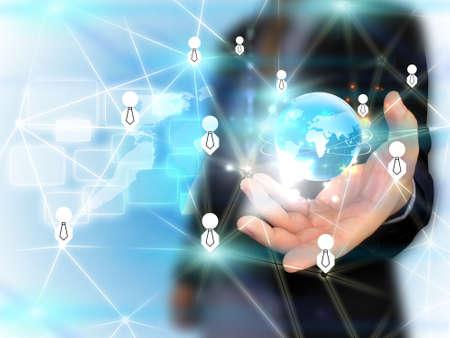mundo manos: Empresario de la celebraci?n de redes sociales