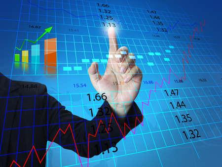 businessman press stock exchange chart  photo