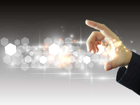 Businessman holding touchscreen 版權商用圖片 - 22087069