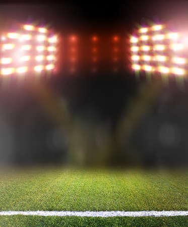 soccer field: soccer field and bright spotlights Stock Photo