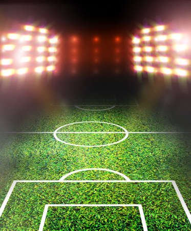 football field: soccer field and bright spotlights Stock Photo