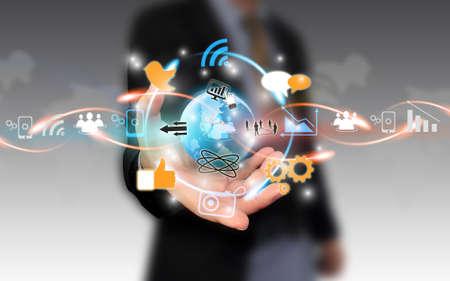 mobile marketing: Social media,social network concept