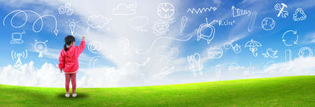 intention: Little girl create idea drawing on blue sky