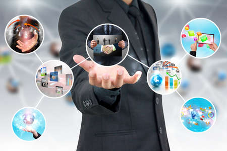 hand holding business diagram Stock Photo - 23689243