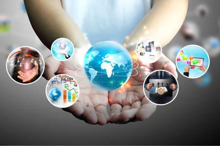 multimedia background: hand holding business collection