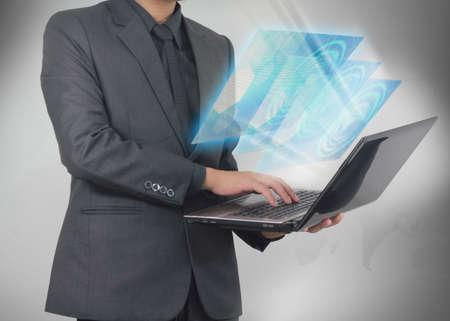 businessman holding social media concept.  photo
