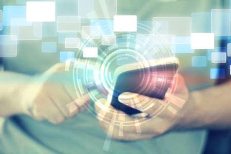 Tacto de la mano los medios de comunicación social, el concepto de red social Foto de archivo - 24344306
