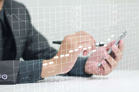 market share: Businessman using a smart phone