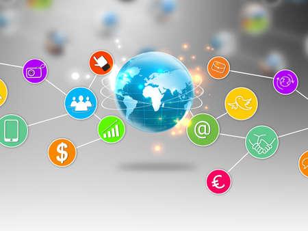 전세계에: 소셜 미디어 및 소셜 네트워크 개념 스톡 사진