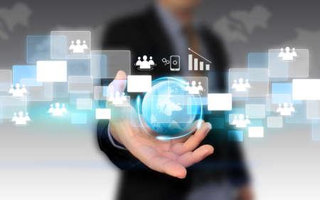 businessman holding social network concept.  photo