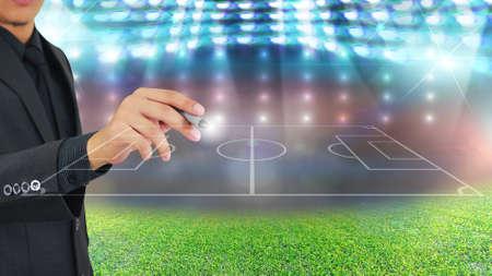 Football manager plan tactics  Stock Photo