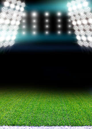 floodlights: soccer field and bright floodlights.