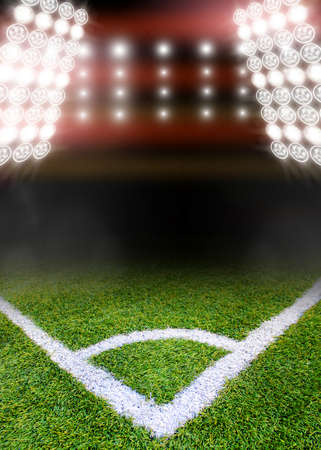 loopable: soccer field and bright floodlights.  Stock Photo