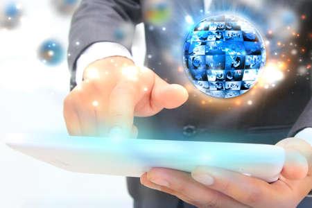 multimedia background: businessman press business world. Stock Photo
