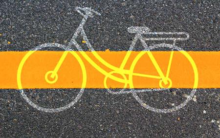 bicycle lane: bicycle symbol on road
