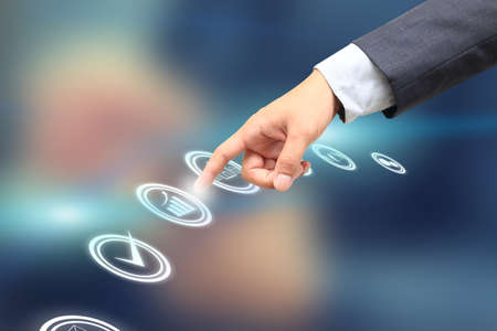 hand choosing one of the options, business graph