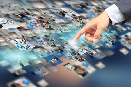 businessman touch social media.  Stock Photo
