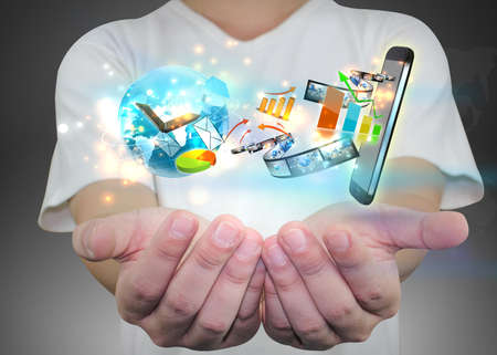 interaccion social: empresario de la celebración concepto de medios sociales.