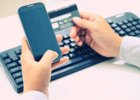internet shopping,online payment with credit card Stock Photo