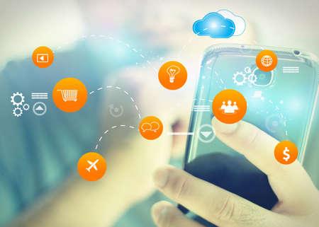 redes de mercadeo: Medios de comunicación social, concepto de red social. Foto de archivo