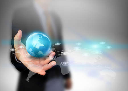 network marketing: businessman holding social network concept.