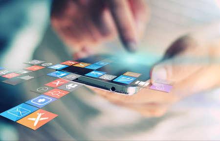 통신: 소셜 미디어, 소셜 네트워크 개념입니다.