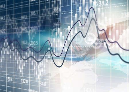 Beurs grafiek, Business analyse diagram. Stockfoto