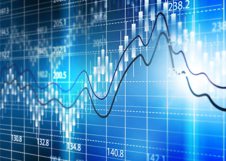 Stock exchange chart,Business analysis diagram. Stock Photo