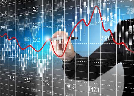 Graphique boursier de change, l'analyse affaires diagramme.
