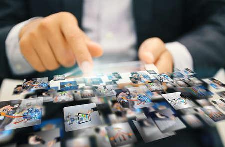 interaccion social: Social Media Marketing concept.media. Foto de archivo