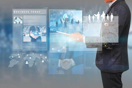businessman working on virtual screen.business concept,technology,management
