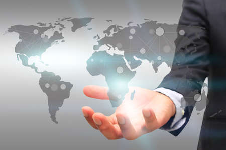 network map: World map connected.Social network concept.globalization business.