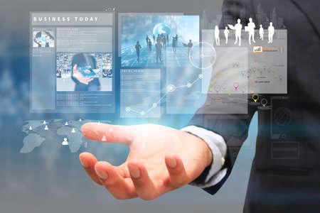 empresas: empresario de la celebraci�n concepto screen.business virtuales Foto de archivo
