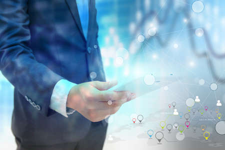 Social network concept.data communication.business world
