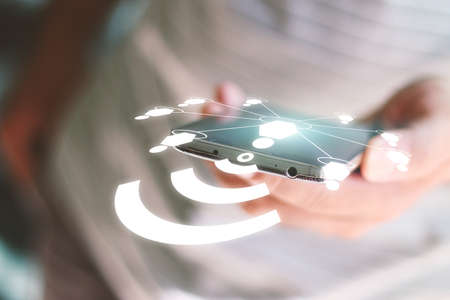 technology trends: Social network concept.data communication. Stock Photo