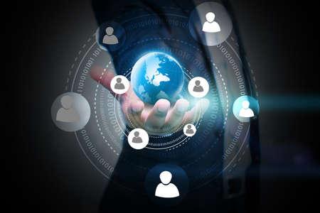 interaccion social: Medios de comunicación social, concepto de red social. Foto de archivo