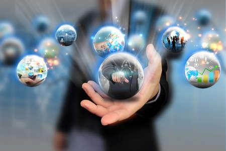 web development: Businessman holding social media concept.