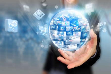 social networks: Businessman holding social media concept.