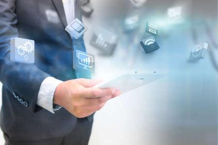 business: business holding business world. Stock Photo