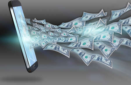 transferring: Dollars flying out of the smartphone.business concept Stock Photo
